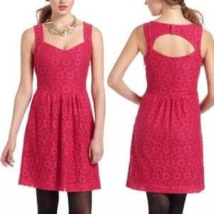 Deletta Pink Lace Dress With Keyhole Back Anthro